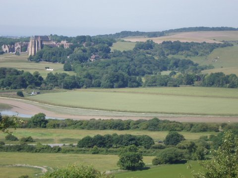 Lancing College across river Adur from Mill Hill, Shoreham